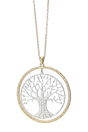 METAL FILIGREE LARGE TREE OF LIFE PENDANT LONG NECKLACE