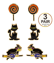 HALLOWEEN THEME 3 PAIR EARRING SET - CAT AND WITCH