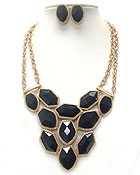 MULTI FACET ACRYLIC STONE LINK BIB STYLE NECKLACE EARRING SET
