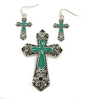 TEXTURED MAGNETIC CROSS PENDANT SET