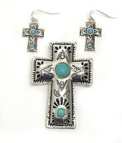 NAVAJO INDIAN TEXTURE W/TURQUOISE MAGNETIC PENDANT SET