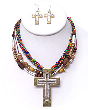 MULTI BEADED W/ LARGE CROSS -PENDANT NECKLACE SET