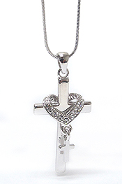 WHITEGOLD PLATING CRYSTAL HEART AND CROSS PENDANT NECKLACE