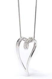 WHITEGOLD PLATING CRYSTAL STUD HEART PENDANT NECKLACE