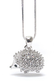 WHITEGOLD PLATING CRYSTAL DECO HEDGEHOG NECKLACE