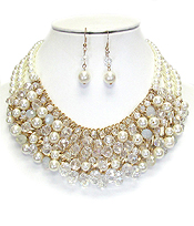 BOUTIQUE STYLE MULTI PEARL AND GLASS BALL MIX BIB NECKLACE SET