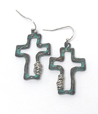 HAMMERED CROSS AND WIRE WRAP EARRING