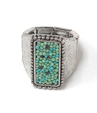TEXTURED METAL WITH TURQUOISE BEAD STRETCH RING