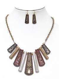 METAL FILIGREE BAR DROP TRIBAL STYEL NECKLACE SET