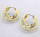 TWO METAL AND ONE TWIST METAL FASHION HOOP EARRING