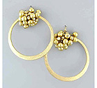 MULTI METAL SMALL BALLS WITH SCRATCH ROUND EARRING