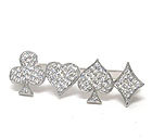 CRYSTAL DECO FOUR SYMBOLS FOR PLAYING CARD STRETCH THREE FINGER RING -CASINO