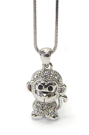 WHITEGOLD PLATING CRYSTAL CUTE MONKEY PENDANT NECKLACE