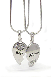 WHITEGOLD PLATING CRYSTAL SEPARATE BEST FRIEND HEART DOUBLE PENDANT NECKLACE SET