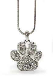 WHITEGOLD PLATING CRYSTAL PAW PRINT NECKLACE