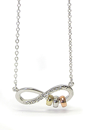 WHITEGOLD PLATING CRYSTAL INFINITY PENDANT NECKLACE