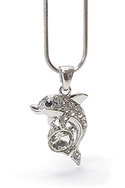 WHITEGOLD PLATING FACET CZ AND CRYSTAL DOLPHIN PENDANT NECKLACE