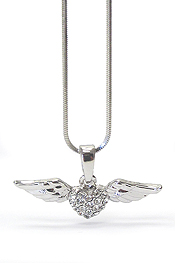 WHITEGOLD PLATING CRYSTAL  HEART AND WING PENDANT NECKLACE