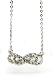 WHITEGOLD PLATING CRYSTAL DOUBLE INFINITY PENDANT NECKLACE