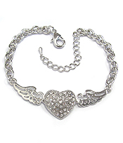 WHITEGOLD PLATING HEART WITH WINGS CHAIN BRACELET