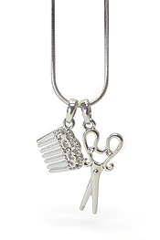 WHITEGOLD PLATING CRYSTAL  BEAUTYSHOP THEME SCISSORS AND HAIRCOMB PENDANT NECKLACE
