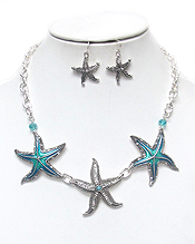 CRYSTAL AND EPOXY STARFISH LINK NECKLACE SET