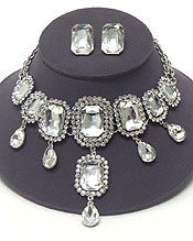 LUXURY CLASS VICTORIAN STYLE AND AUSTRIAN CRYSTALAND FACET SQUARE STONES NECKLACE SET