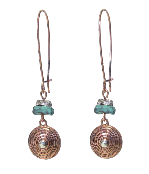 TEXTURED METAL DISC DROP EARRING