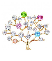 MULTI CRYSTAL TREE OF LIFE BROOCH OR PIN