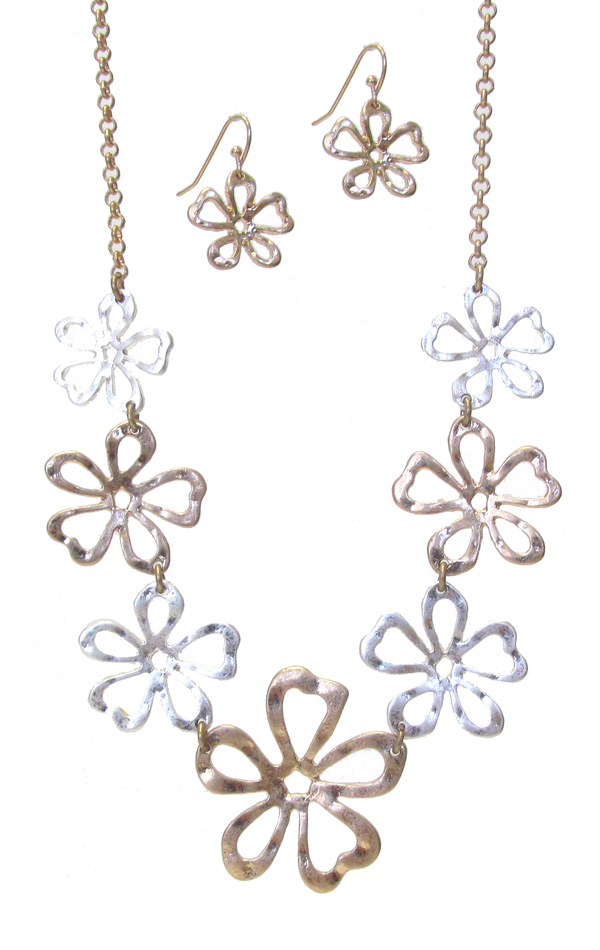 MULTI METAL FLOWER LINK NECKLACE SET