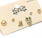 CRYSTAL OWL AND MULTI MIX EARRING SET OF 3