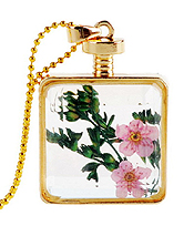 VINTAGE HAND PICK FLOATING DRY FLOWER GLASS PENDANT NECKLACE