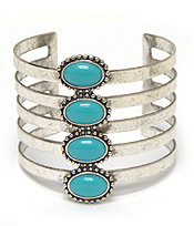 TURQUOISE STONE 5LAYER METAL CUFF BRACELET
