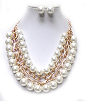 4 LAYER CHAIN AND MULTI SIZE PEARLS NECKLACE SET