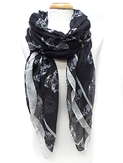 SKULL PRINT SCARF - Wholesale Fashion Accessories