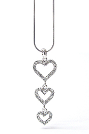 WHITEGOLD PLATING CRYSTAL TRIPLE HEART CASCADE DROP PENDANT NECKLACE