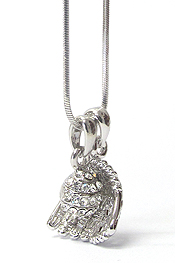WHITEGOLD PLATING CRYSTAL STUD BASEBALL GLOVE AND BALL DUAL PENDANT NECKLACE