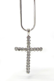 WHITEGOLD PLATING CRYSTAL SIMPLE CROSS PENDANT NECKLACE