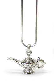 WHITEGOLD PLATING CRYSTAL GENIE LAMP PENDANT NECKLACE