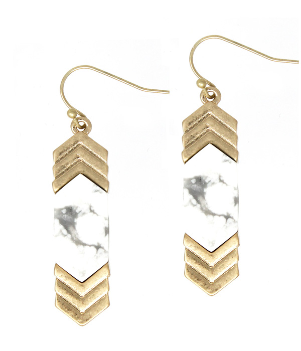 SEMI PRECIOUS STONE AND METAL CHEVRON EARRING