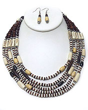 FIVE LAYER MULTI WOOD BEADS NECKLACE SET