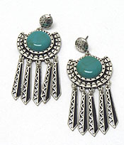 TRIBAL STYLE WITH STONE BURN SILVER EARRINGS - Wholesale Jewelry