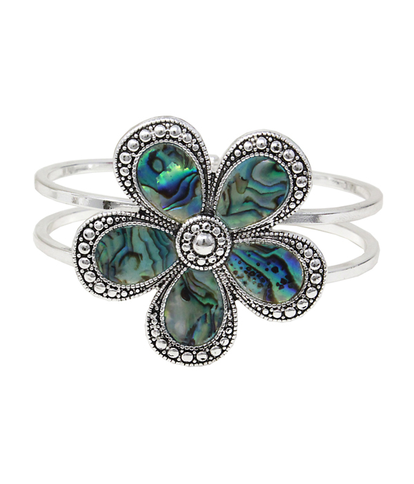 ABALONE HINGE BANGLE BRACELET - FLOWER