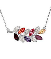 CRYSTAL LEAF PENDANT NECKLACE - Wholesale Jewelry
