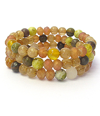 GENUINE SEMI PRECIOUS STONE MIX STRETCH 3 SET OF BRACELET