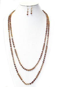 GENUINE SEMI PRECIOUS STONE MIX LONG NECKLACE SET