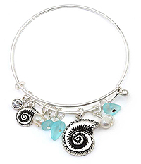 ALEX AND ANI STYLE TEXTURED SHELL AND PEARL CHARM WIRE BANGLE BRACELET