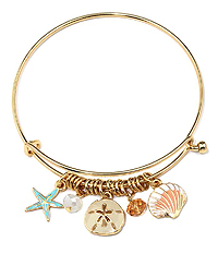 ALEX AND ANI STYLE ENAMEL STARFISH AND SAND DOLLAR CHARM WIRE BANGLE BRACELET