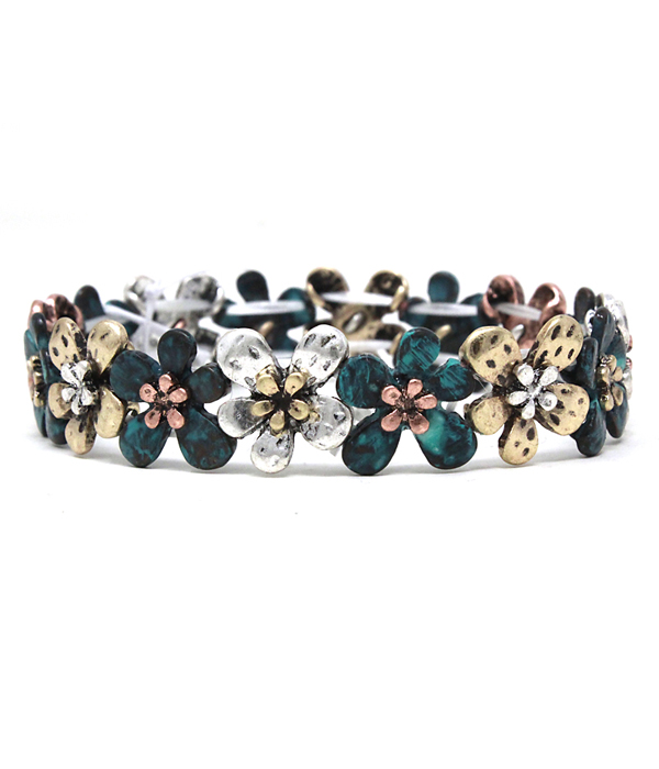 VINTAGE METAL FLOWER STRETCH BRACELET