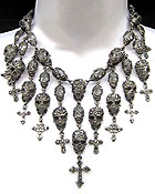 MULTI FASHION CRYSTAL SKULLS SKELETON AND CRYSTAL CROSS NECKLACE - HALLOWEEN